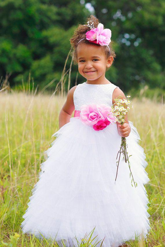 1ea648ef1af6 Toddler Flower Girl Dress - Full Length Dresses - White Wedding ...