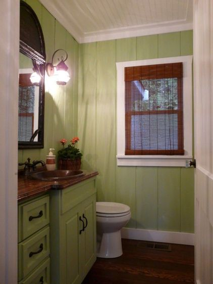simple bath redo with new paint on cheap paneling. Black Bedroom Furniture Sets. Home Design Ideas