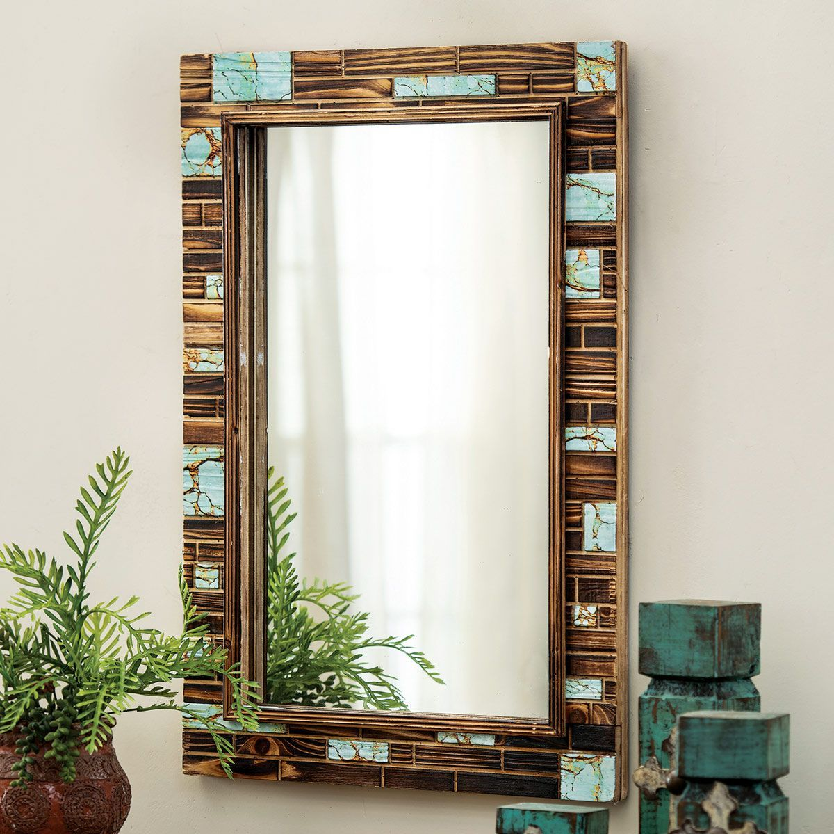 turquoise canyon wall mirror wood wall mirror mirror on wall mirrors id=48498