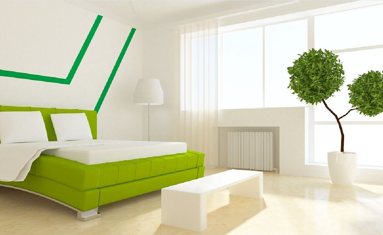 Interior design white walls green bed interi rov design White interior design