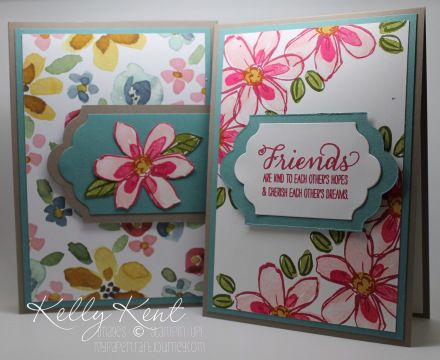 Decorated Notepad with magnetic closure (measurements included) and coordinating card. English Garden DSP & Garden in Bloom stamp set. Kelly Kent - mypapercraftjourn....