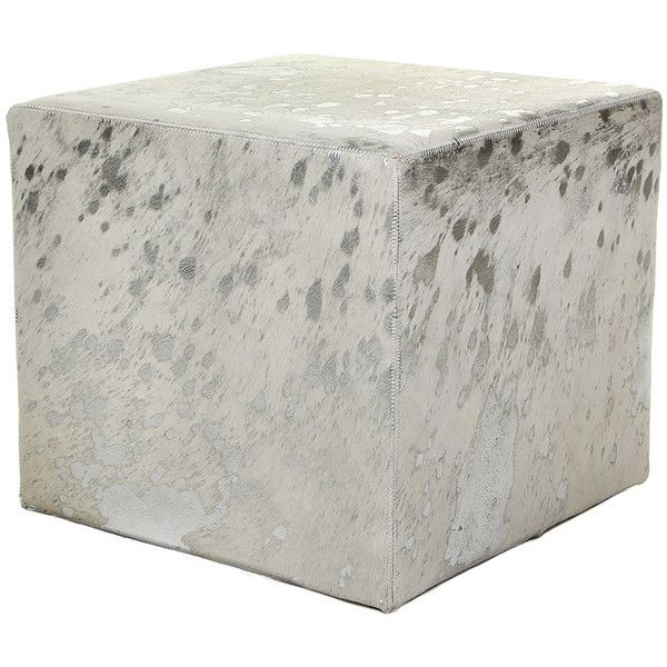 Amara Cow Skin Cube Pouf White Silver 429 Liked On