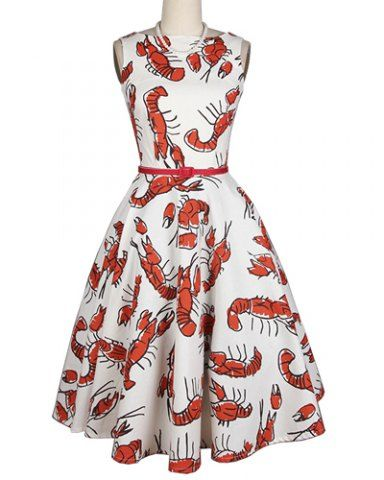 Stylish Slash Neck Sleeveless Lobster Printed Dress For Women ... fd300a229088