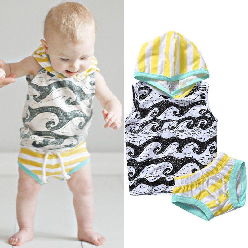 85c6ab22c 2PCS Newborn Baby Boy Hooded Tops+ Shorts Short Pants Cotton Outfits ...