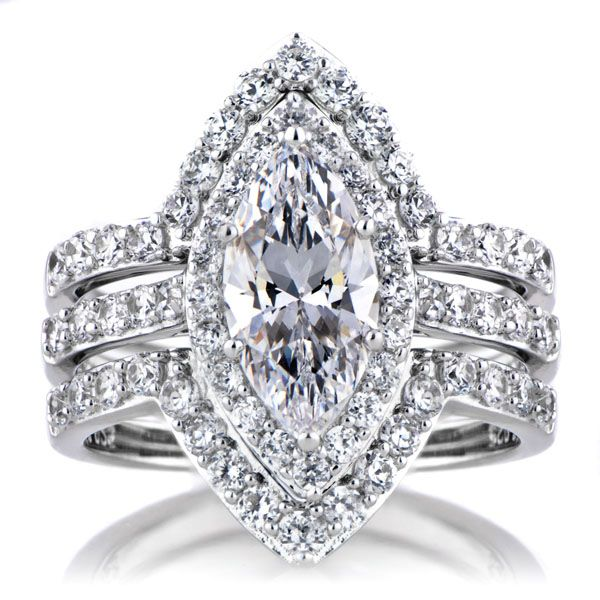 padgetts marquise cut cz wedding ring set double ring guards