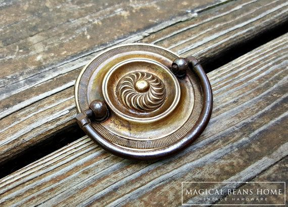 Rustic Bronze Hepplewhite Drawer Pulls Round Brass Drawer