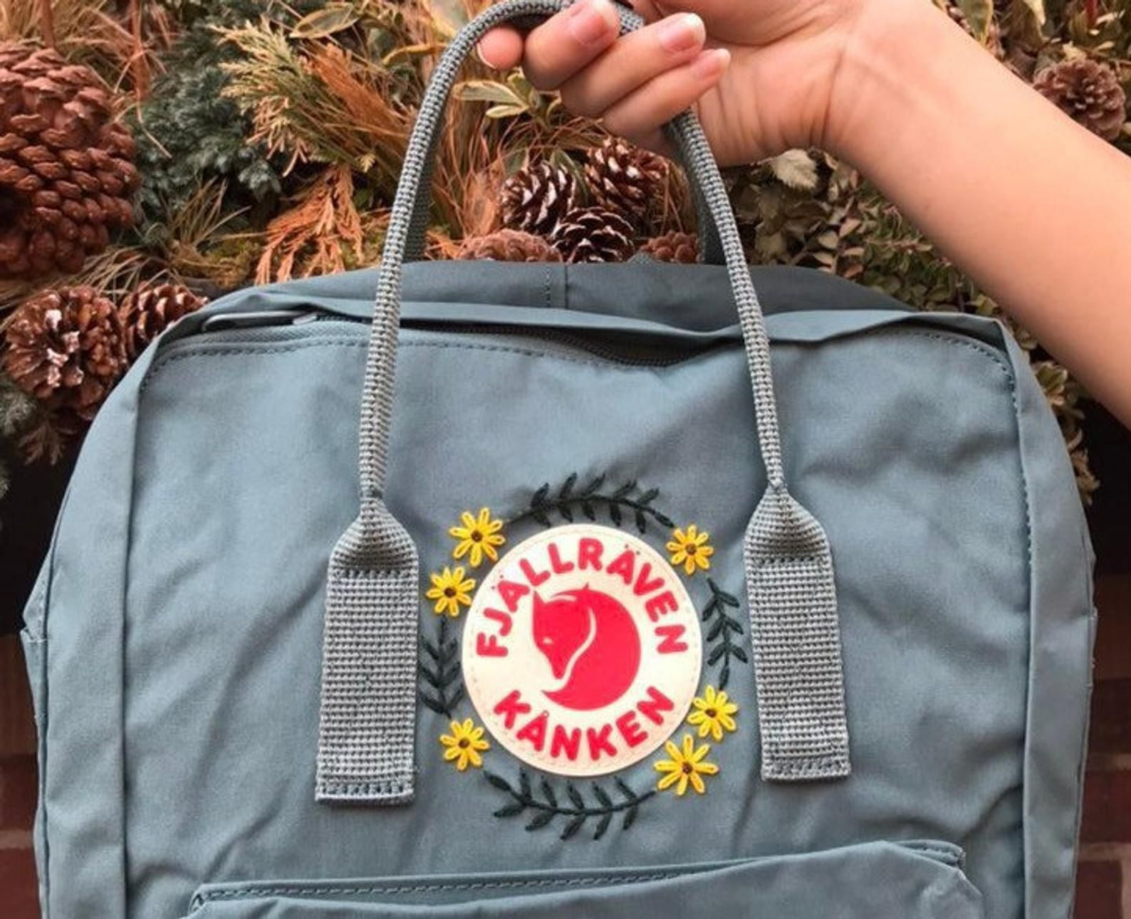 Red Fox Navy Embroidered RucksackBackpack