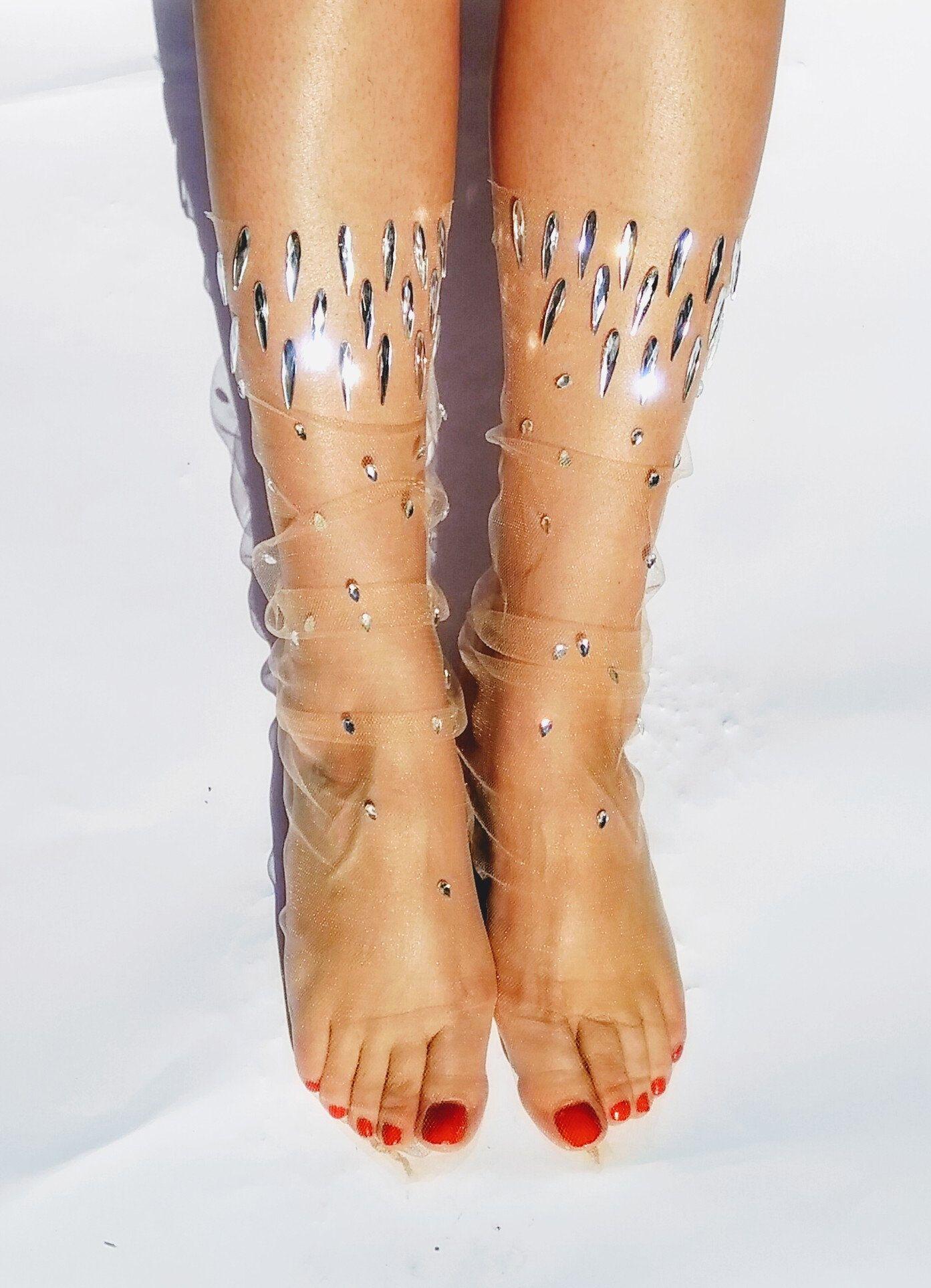 52835db5f Tulle Socks. Sheer Transparent Cute Novelty Rhinestone Socks. Gift ...