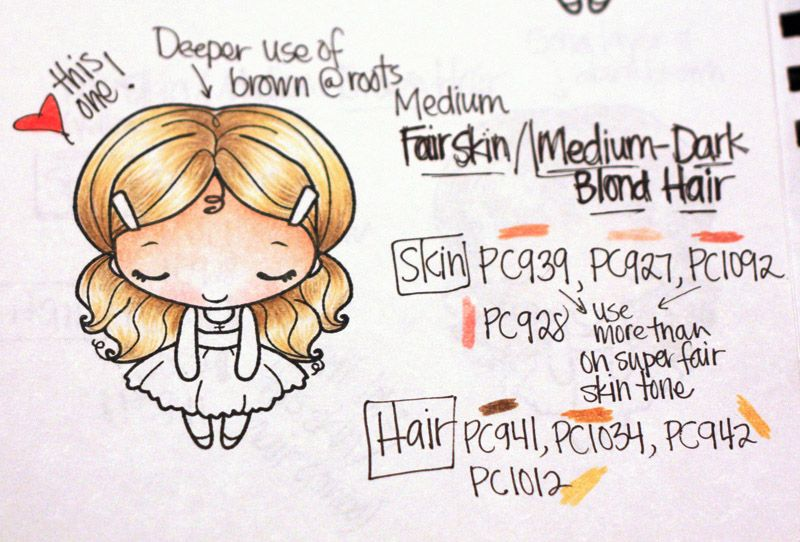 darkblond and 8 other hair color shades | Prisma Colored pencils ...