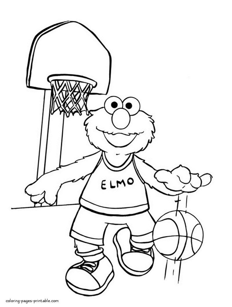Elmo Playing Basketball Coloring Page Elmo Coloring Pages Monster Coloring Pages Sesame Street Coloring Pages