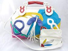 Vintage 80's Multicolor Arte Croc Flecos Vegano Imitación Cuero bandolera bolso bolso