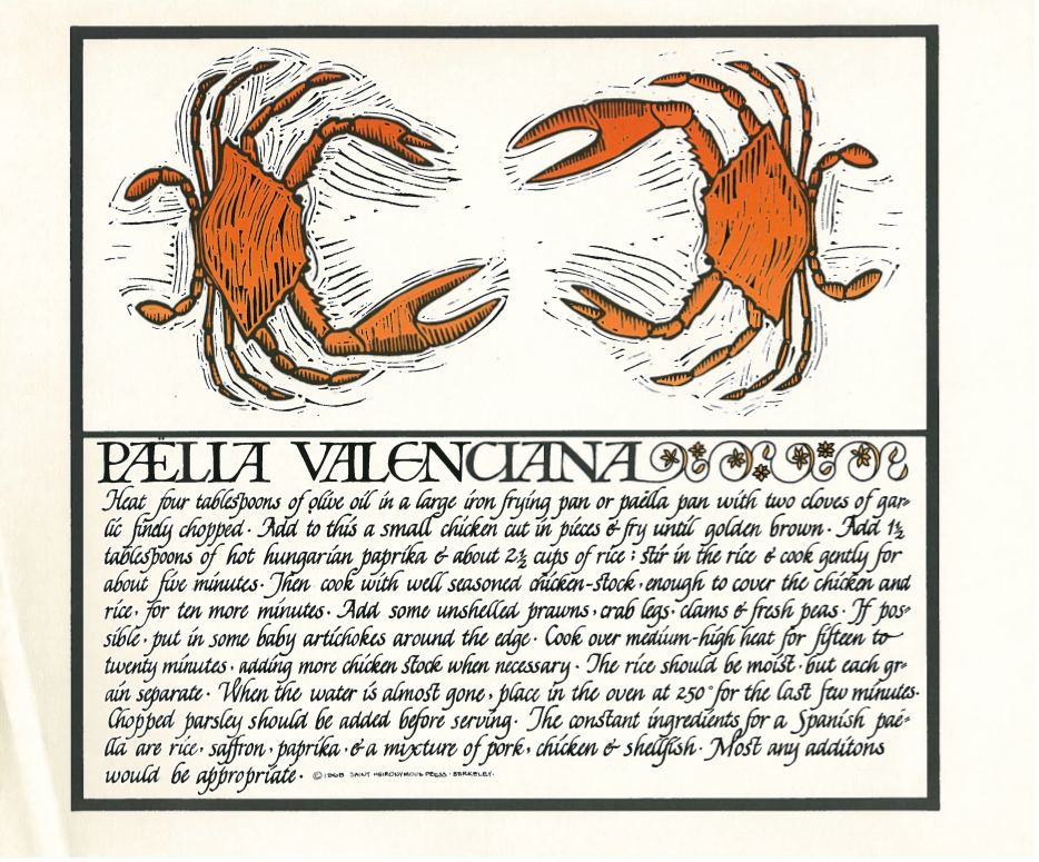 David Lance Goines - Paella valenciana, from '30 recipes suitable for framing'