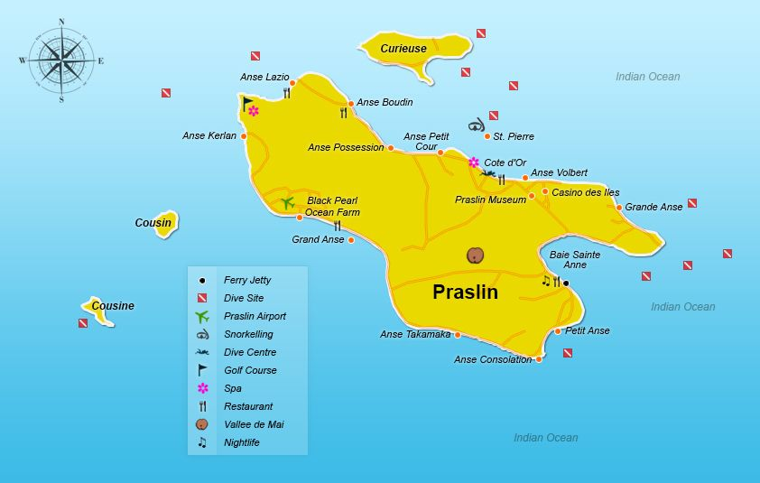 Praslindetailedmapjpg Indian Ocean Islands - Indian ocean seychelles map