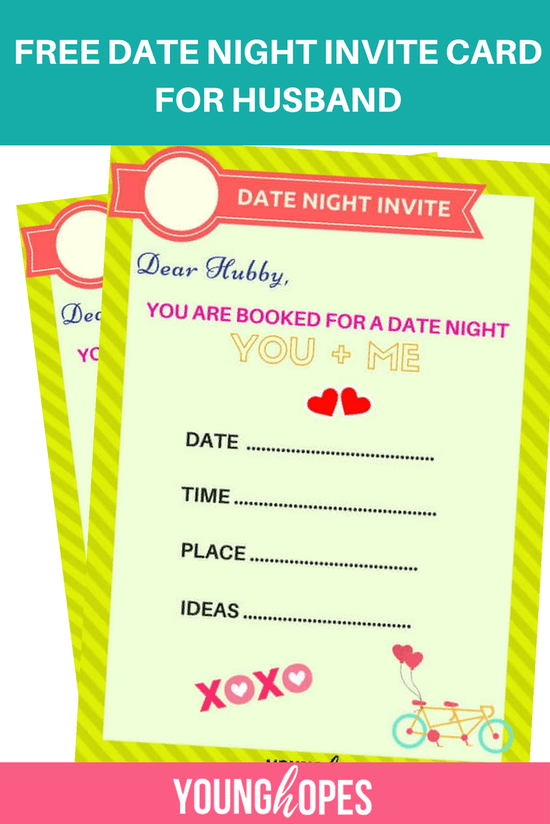 Free Date Night Invite Card For Husband To Surprise Him Surprises For Husband Birthday Surprise For Husband Gifts For Husband