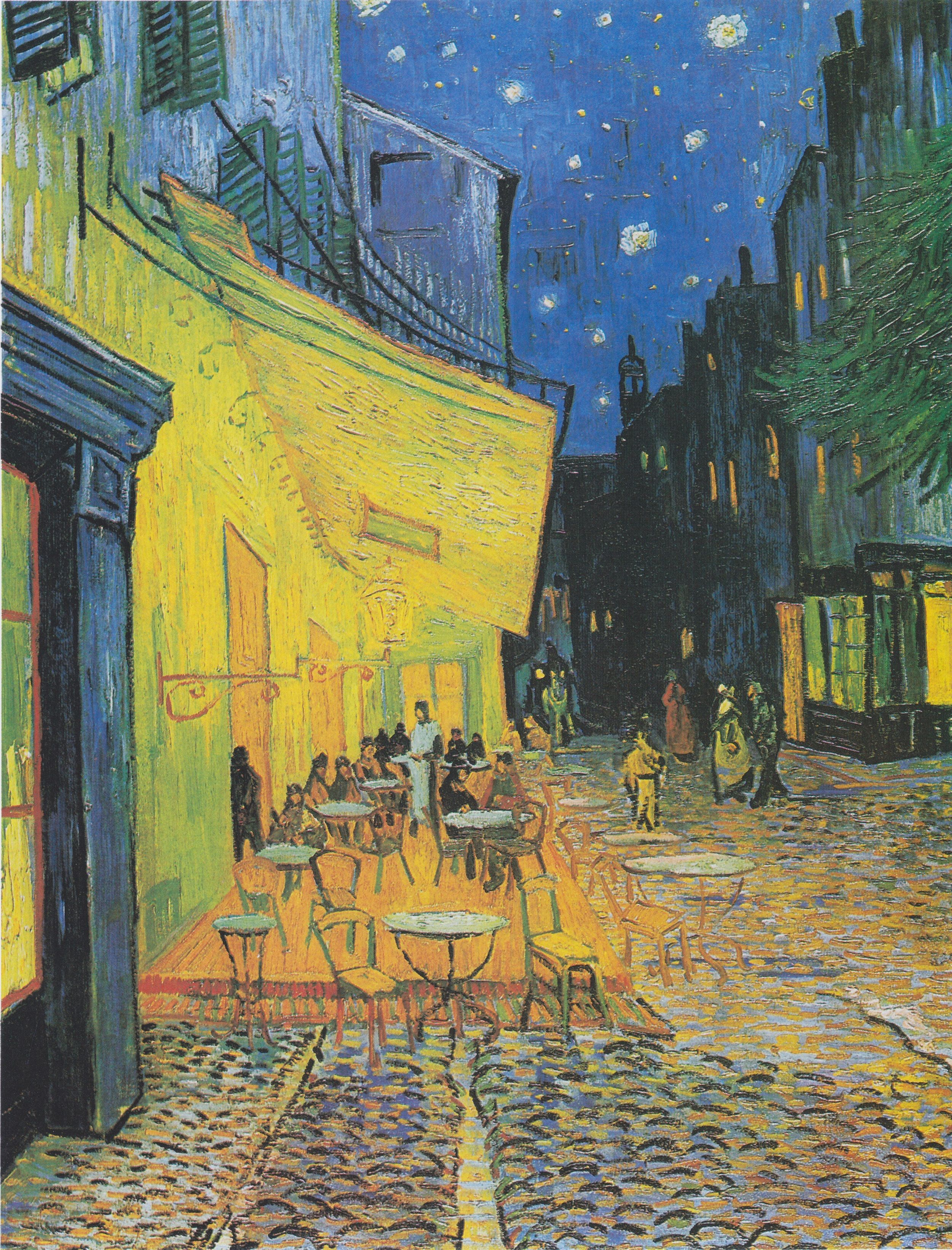 "Vincent van Gogh, ""Café Terrace at Night"" (1888), Oil on canvas, 80.7 cm × 65.3 cm (31.8 in × 25.7 in), Kröller-Müller Museum, Otterlo, Netherlands. Also known as The Cafe Terrace on the Place du Forum. Post-Impressionism"