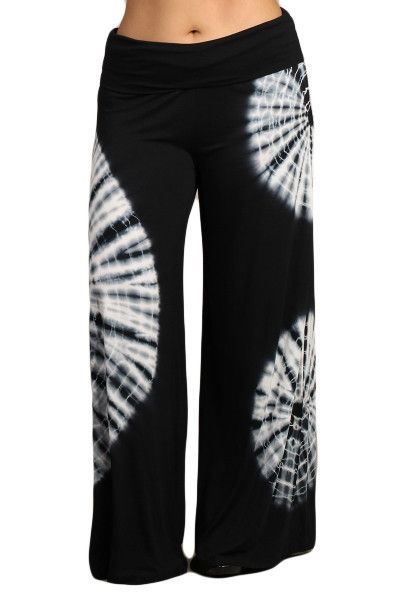 cee61d9a7f9ef Womens PLUS SIZE Black Tie Dye Wide Leg Flare Legged Banded Palazzo Fashion  Yoga Pants