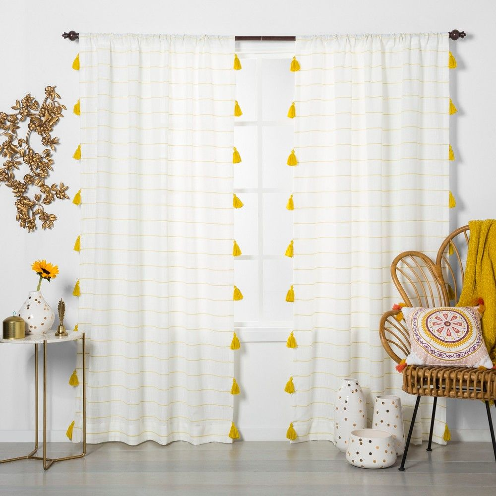 84 X54 Contrast Stripe Light Filtering Window Curtain Panel With Tassel Yellow White Opalhouse Yellow Curtains Tassel Curtains Panel Curtains