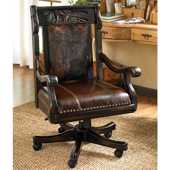 Delightful Rustic Office Chair. Carved Elk Office Chair With Brindle Hide Rustic