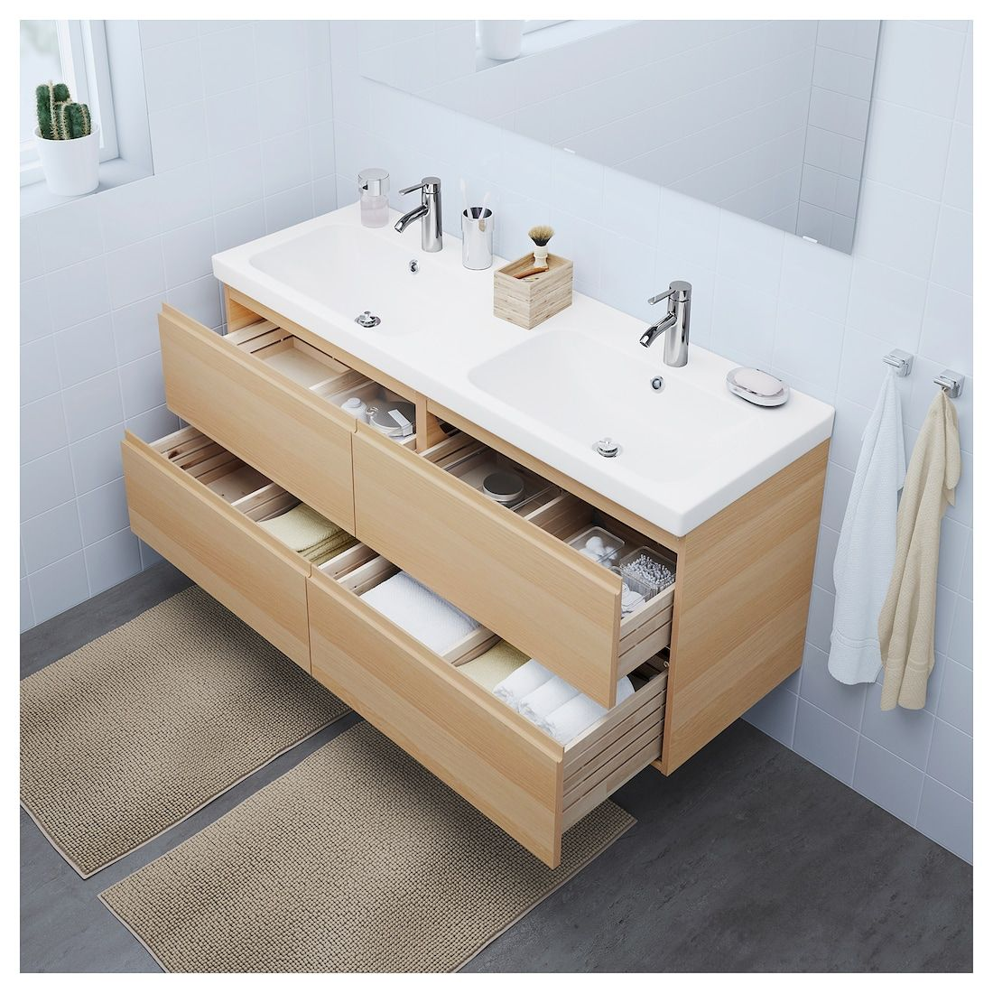 Ikea Godmorgon Odensvik White Stained Oak Effect Dalskar Faucet Sink Cabinet With 4 Drawers En 2020 Meuble Lavabo Lavabo Ikea Et Lavabo