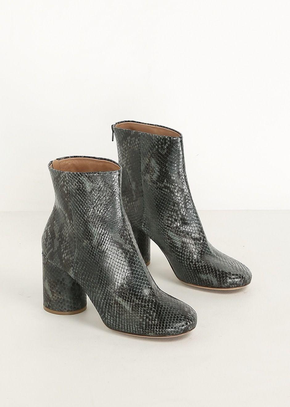 f34fbf82230 Maison Martin Margiela Snake Printed Ankle Boot (Dark Green ...