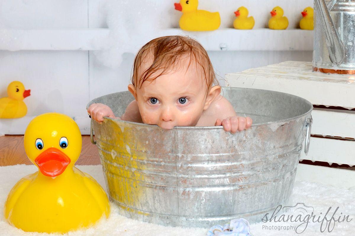 Shana Griffin Photography- First Birthday rubber ducky bath.