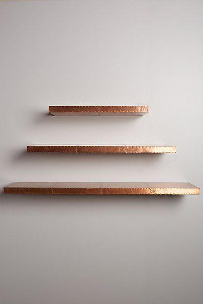 Burnished Metal Floating Shelf Anthropologie Copper Diy Metal Floating Shelves Copper Shelf