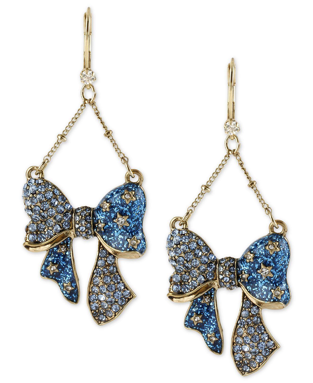 Betsey Johnson Earrings, Antique Gold-Tone Glass Bow Chandelier ...