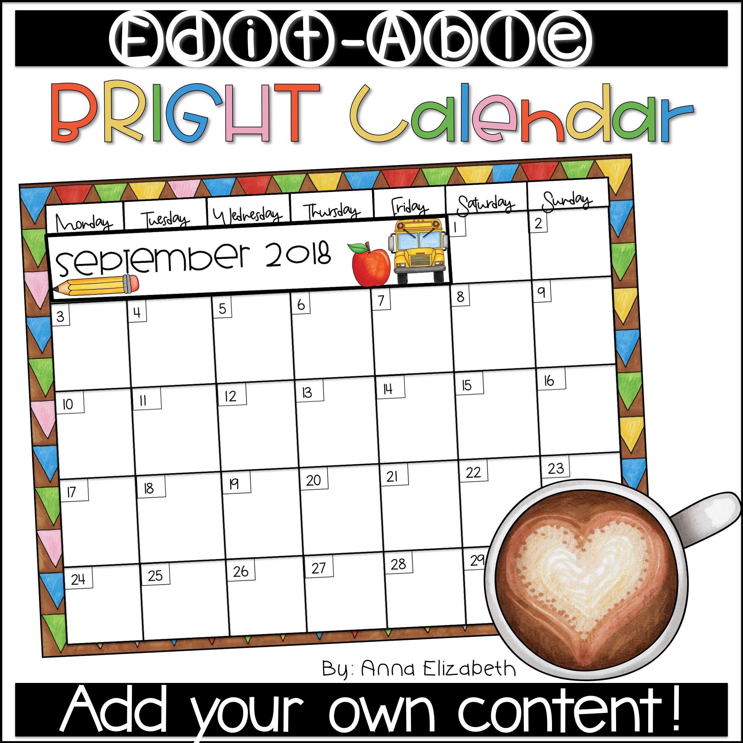 Editable Calendar 20202021 Etsy in 2020 Editable