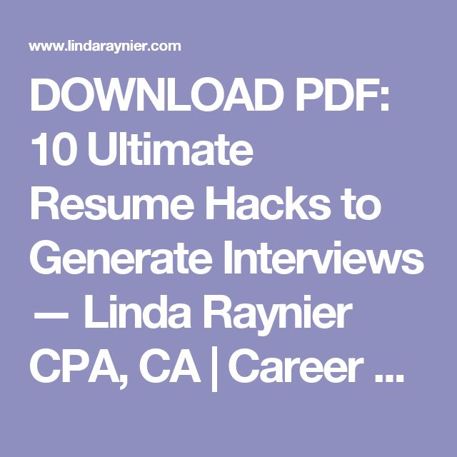 download pdf 10 ultimate resume hacks to generate interviews