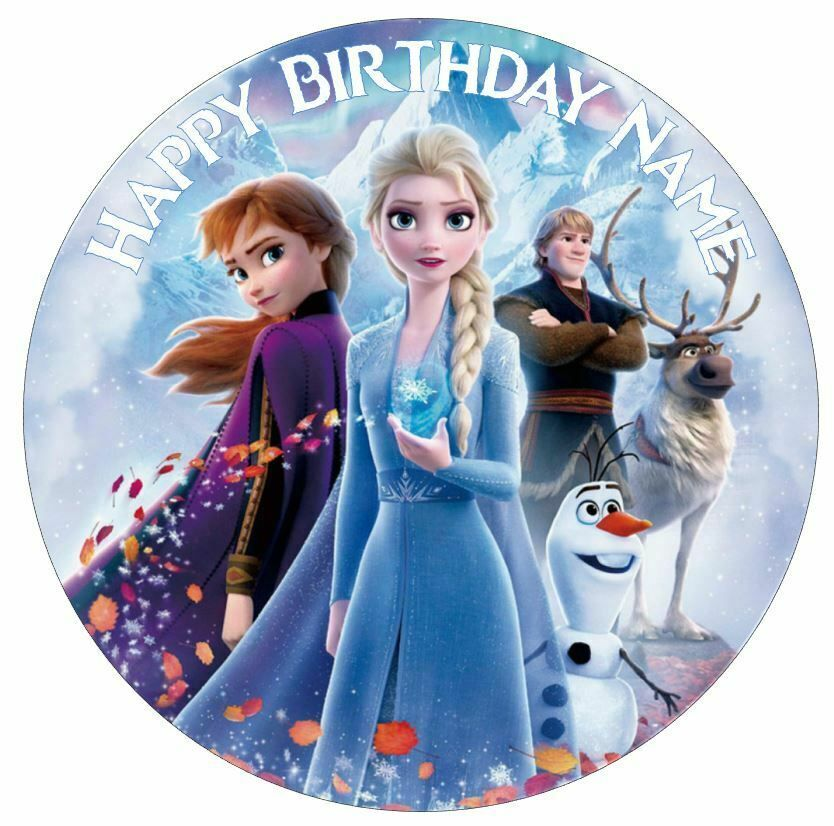 Frozen 2 Elsa Anna Personalised Edible Cake Topper Decor Icing Or