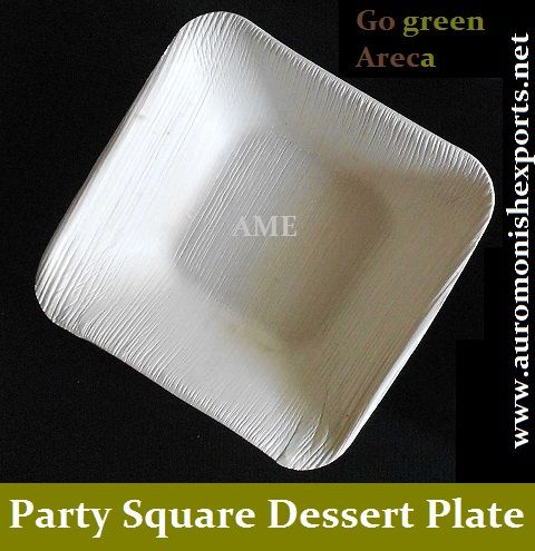 Product : Party Square Dessert Plate (Areca Leaf Plates)  Nature Of Products:100 % Biodegradable in nature.  Botanical Name :Areca Catechu Linn  Shape: Square  Size : 9 inches Depth : 1 inches  Color : 100 % Leaf Color.  Use : Dessert Plates