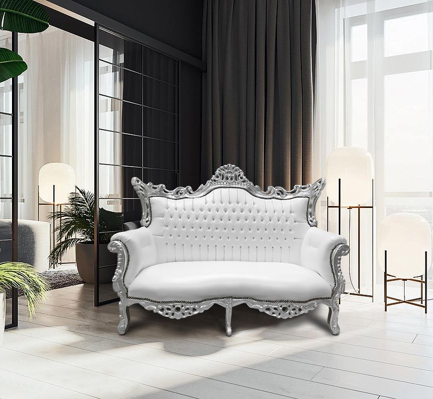 Baroque Rococo 2 Seater Sofa White Leatherette And Silver Wood 2 Seater Sofa Rococo Armchair Baroque Furniture