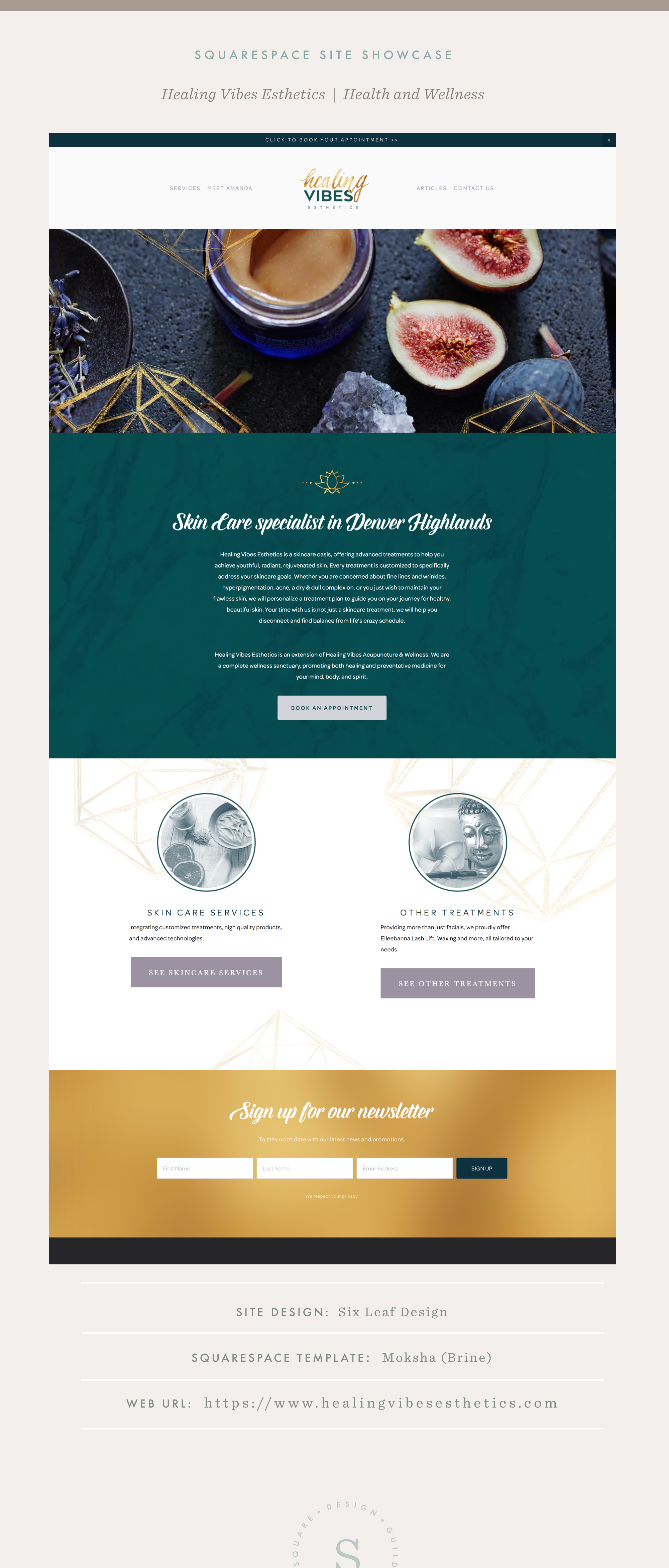Site Showcase Healing Vibes Esthetics Squarespace Design Guild