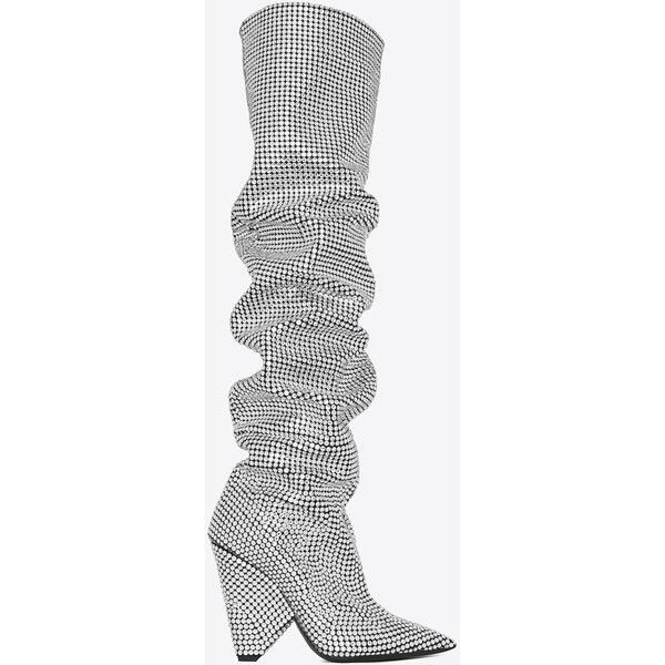 b103752de2e NIKI 105 thigh-high boot with all-over embroidered white crystals ...