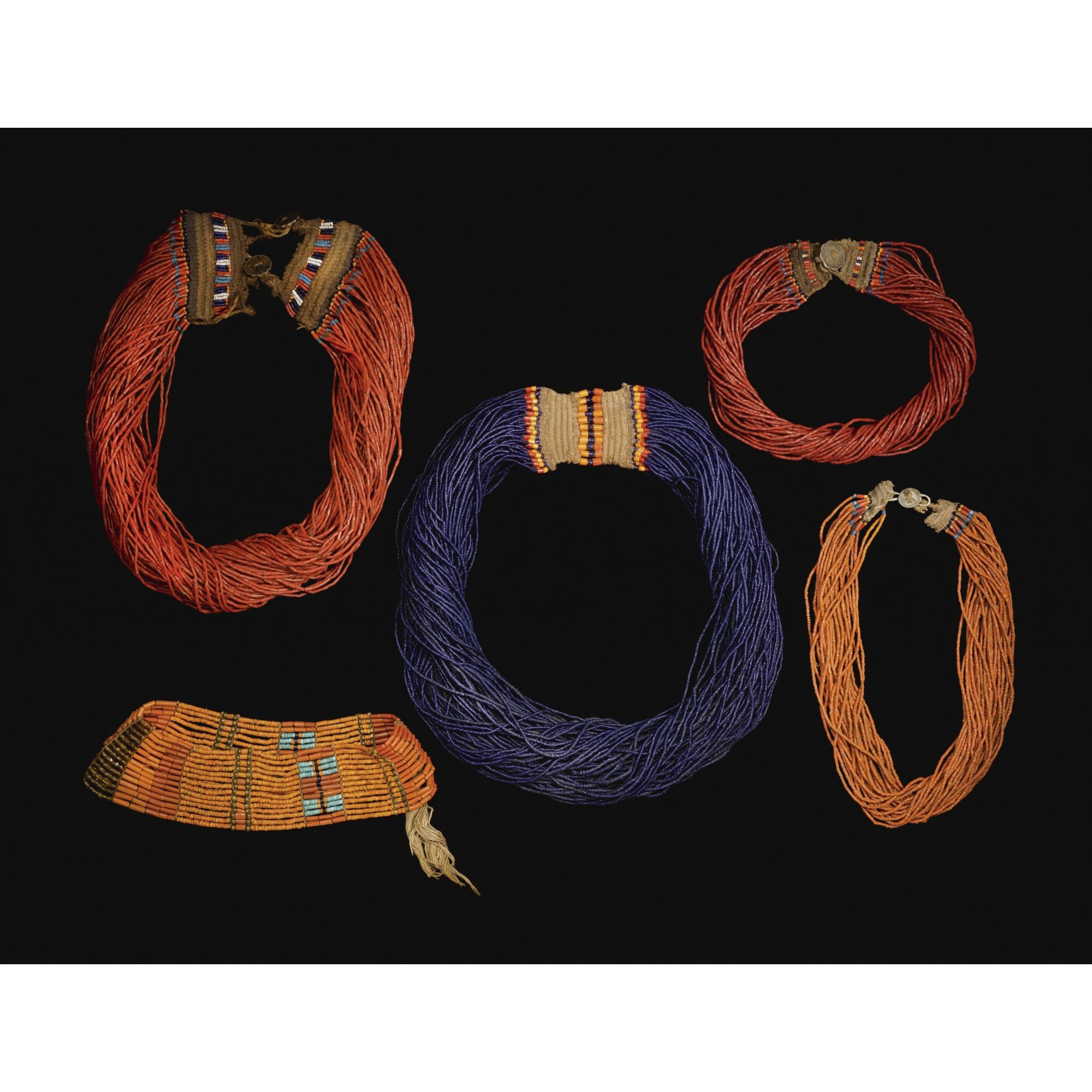 FIVE NAGA GLASS-BEAD NECKLACES, NAGALAND, NORTH-EAST INDIA.