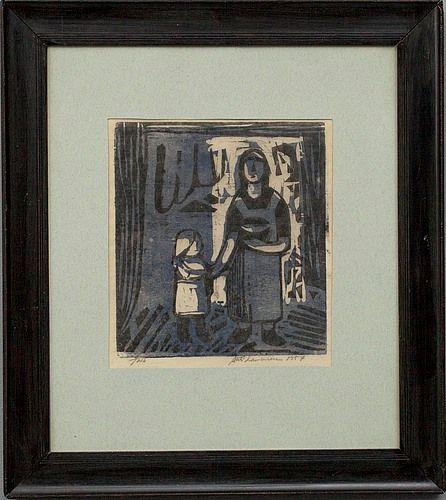 Ahti Lavonen: Äiti ja lapsi, 1957, puupiirros, 25x22,5 cm - Bukowskis Market 2012