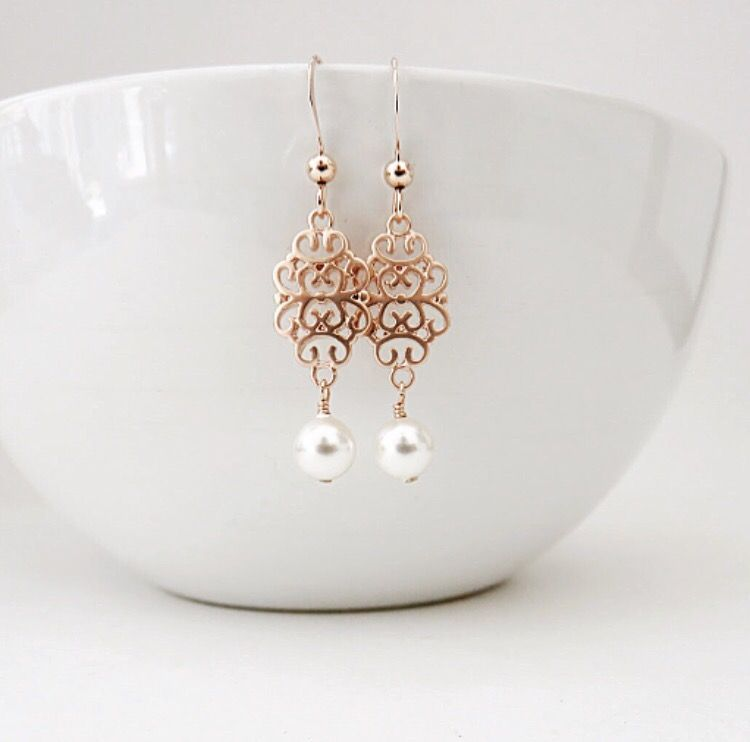 Rose Gold Filigree Earrings MarciaHDesigns Handmade Jewelry