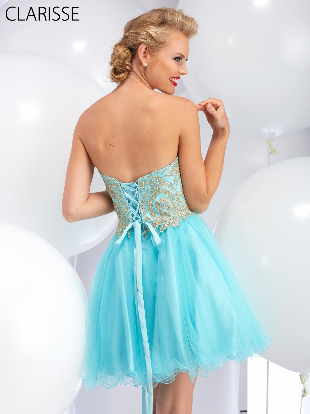 Fun and Flirty Strapless Short Prom Dress with Lace Up Back by ...