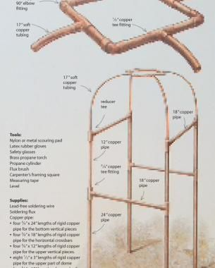 Copper Tubing Art beautiful plan trellis made of copper pipes. awesome idea in great