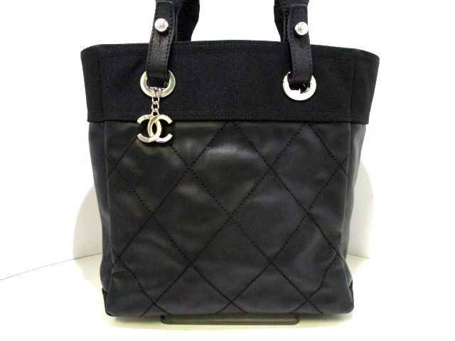 0a35ed08e8bc8c Auth CHANEL Paris Biarritz Black Coated Canvas Nylon Leather Tote Bag #bags  #coolbags