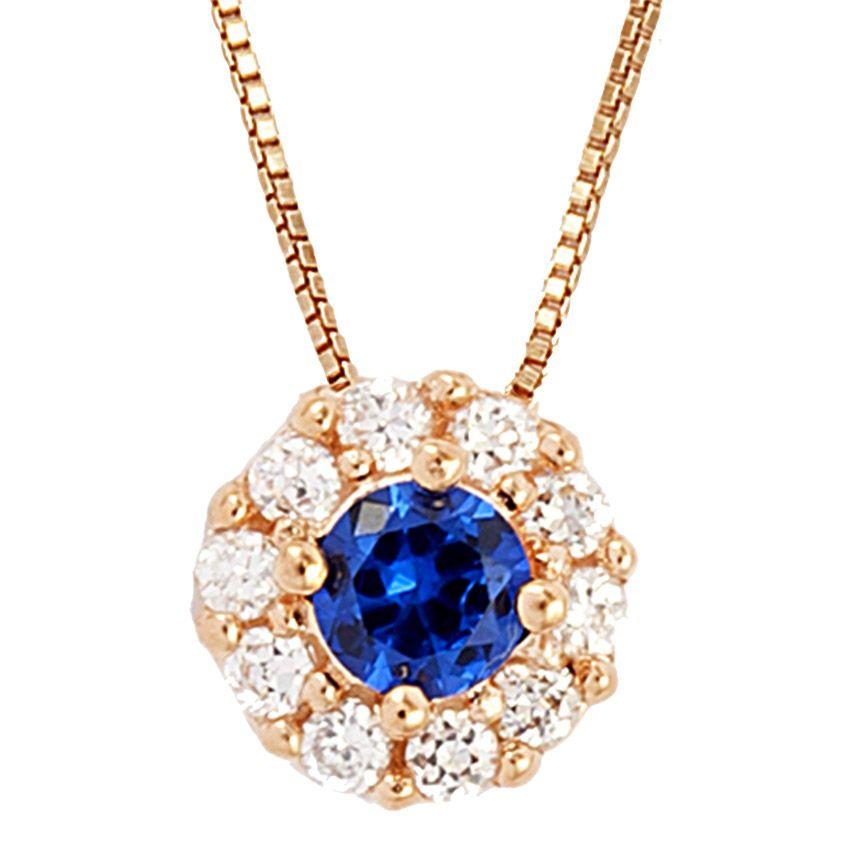 Colar Semi Joia em Prata com Banho de Ouro Rosé 18k, Cravação de Zircônias Brancas e Zircônia na cor Azul Safira