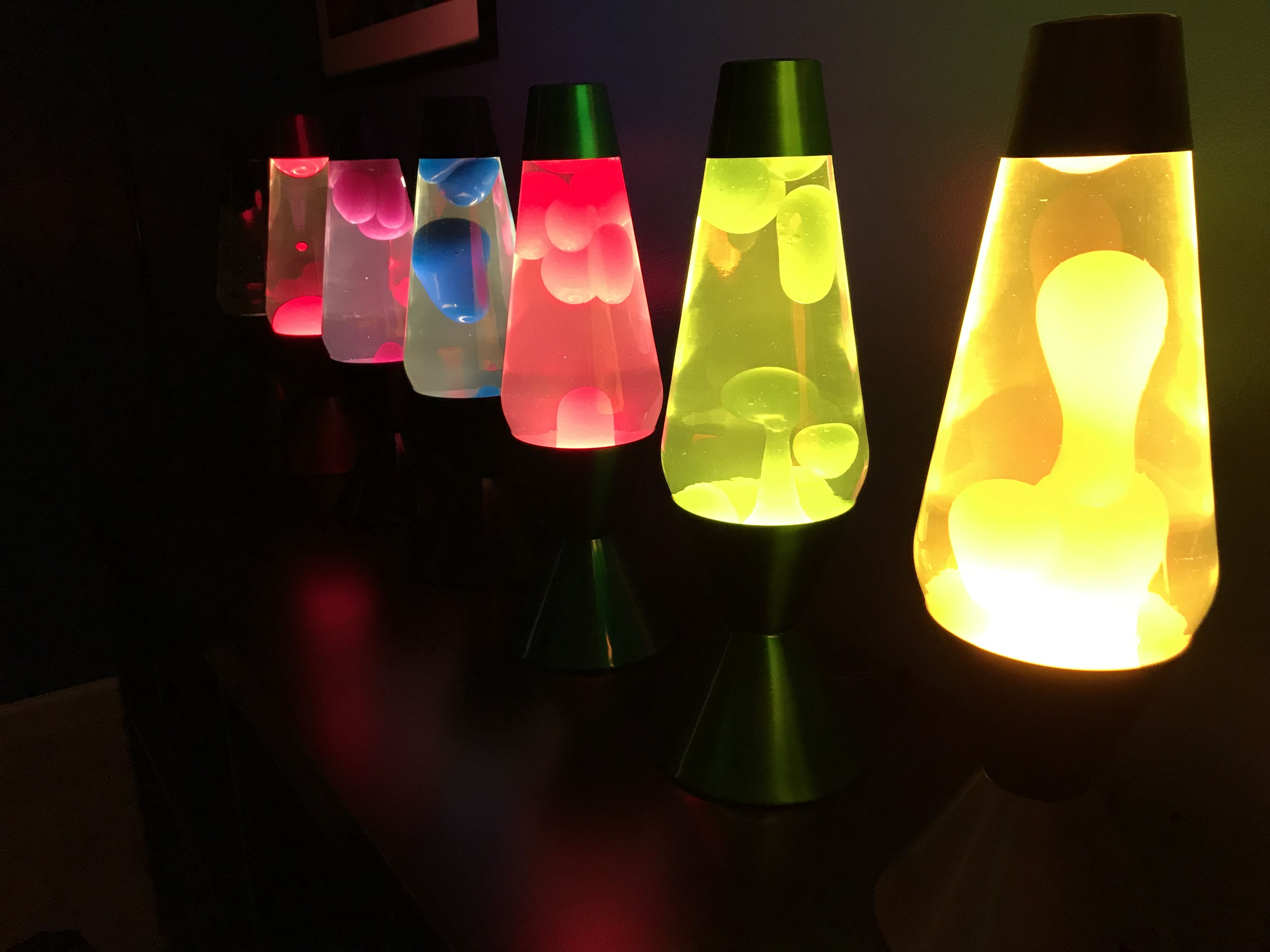 Lava Lamps On Shelf In Living Room Ideas Add In Different Crazy Vases In Between Each Lamp Lamp Lava Lamp Creative Lamps