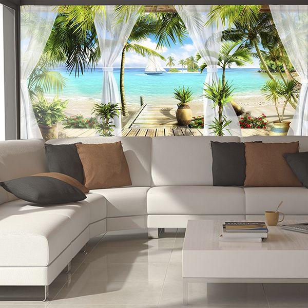 Fototapete mittelmeer terrasse direkt am strand - Wandgestaltung terrasse ...