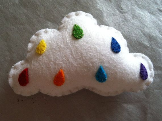 ༺༺༺♥Elles♥Heart♥Loves♥༺༺༺ .............♥Pincushions♥............. #Pincushion #Pin #Cushion #Design #Sewing #Notions #Needle #Handmade #Vintage #Craft #Tutorial #Pattern ~ ♥White Felt Cloud Pincushion With Rainbow Colour by DarnedLovely