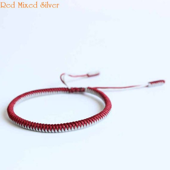 93c8ca5491 Original Multi Color Tibetan Buddhism Handmade Knot Lucky Rope Bracelet Red  Silver Green Blue Bangle