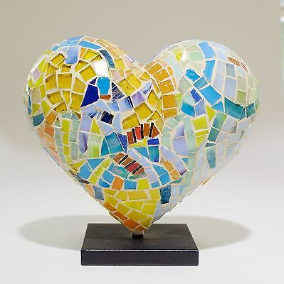 Dmitry Grudsky 2014 Limited Edition Mini Mosaic Heart Sculpture - Hearts in SF