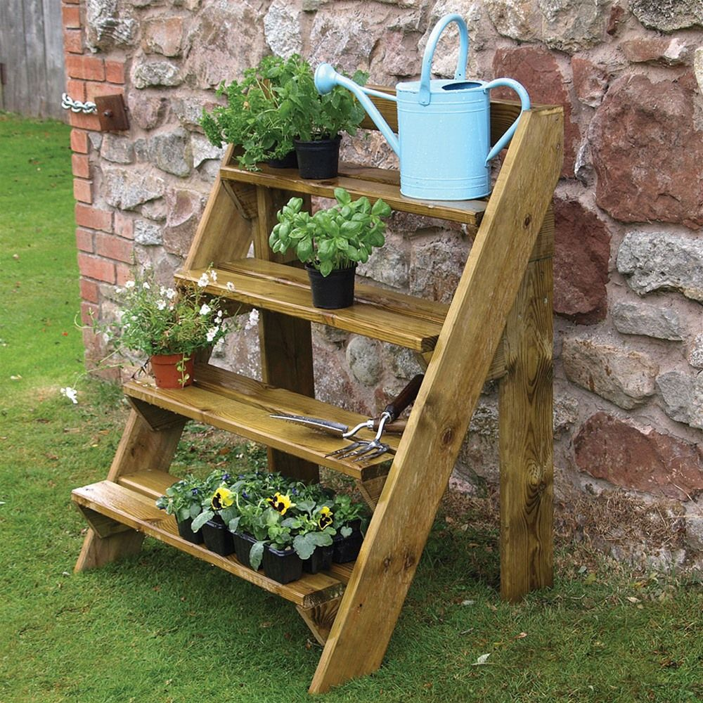 Grange wooden steps garden plant pot stand wooden steps for Wooden garden decorations