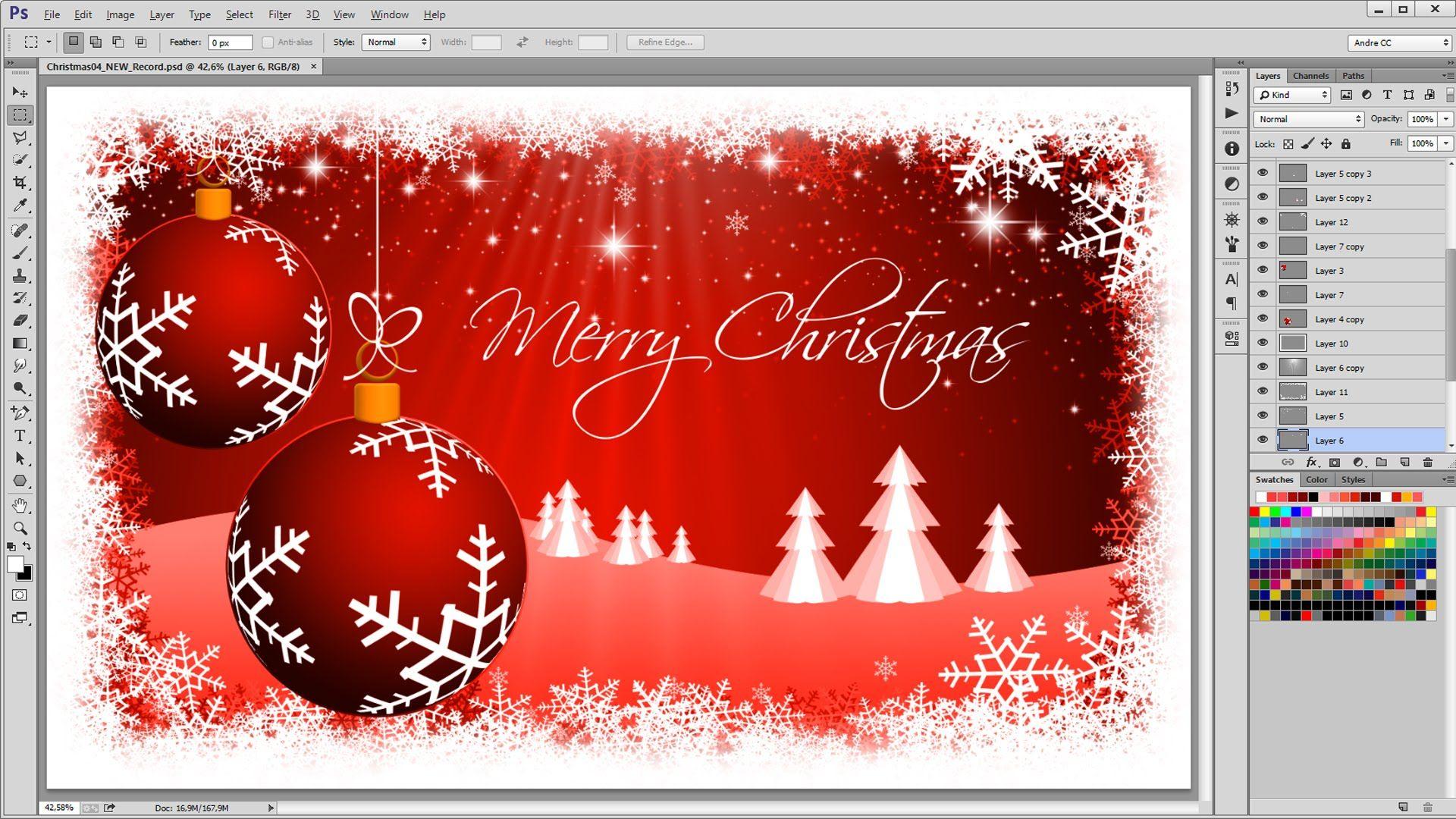 Как сделать новогодние открытки в фотошопе, красивые