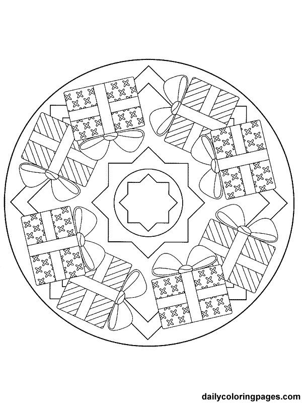 detailed christmas coloring pages mandala christmas ornaments coloring pages 044 - Christmas Mandalas Coloring Book