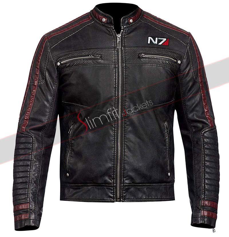 Men/'s N7 Mass Effect in Pelle Giacca Bomber Slim Fit Cafe Racer Moto Biker